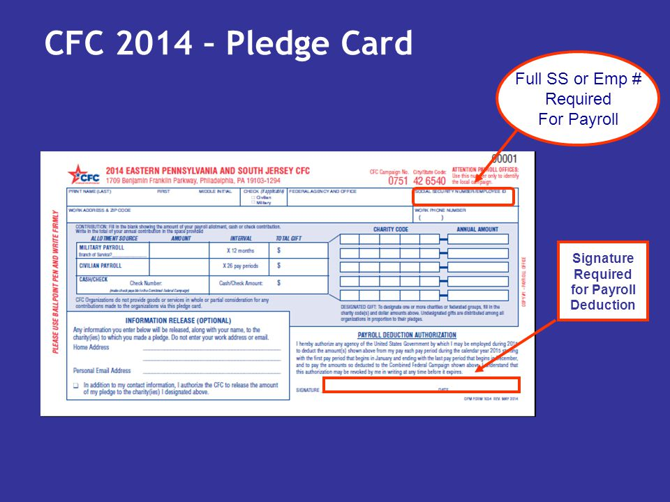 CFC 2014 – Pledge Card Full SS or Emp # Required For Payroll Signature Required for Payroll Deduction