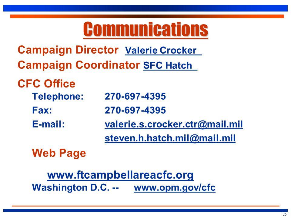 Communications Campaign Director Valerie Crocker_ Campaign Coordinator SFC Hatch_ CFC Office Telephone: 270-697-4395 Fax:270-697-4395 E-mail:valerie.s.crocker.ctr@mail.milvalerie.s.crocker.ctr@mail.mil steven.h.hatch.mil@mail.mil.mil@mail.mil Web Page www.ftcampbellareacfc.org Washington D.C.