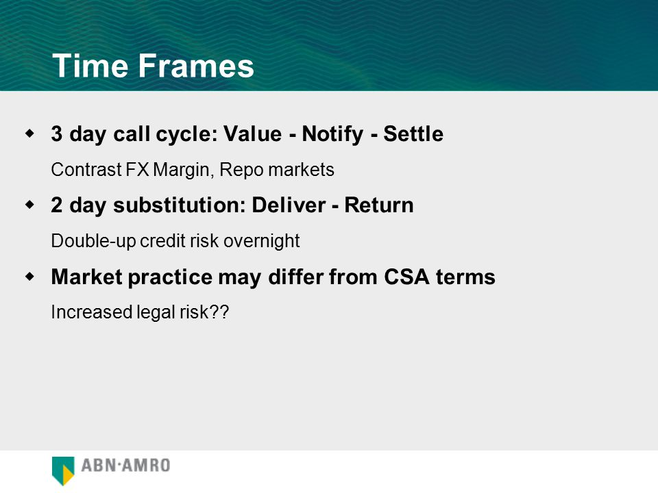 Time Frames  3 day call cycle: Value - Notify - Settle Contrast FX Margin, Repo markets  2 day substitution: Deliver - Return Double-up credit risk