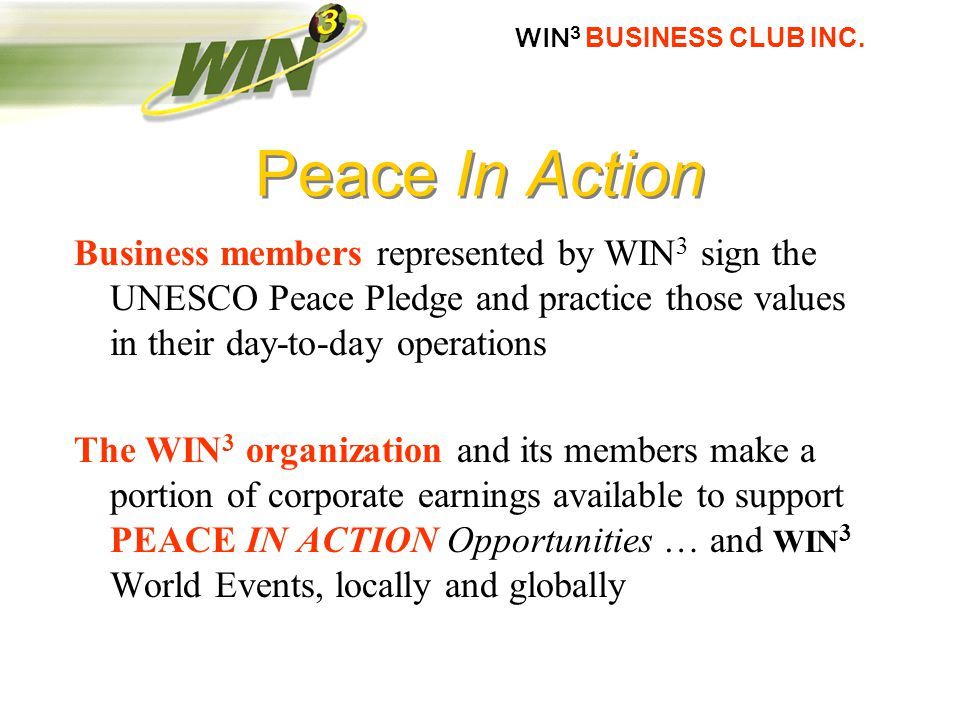 WIN 3 BUSINESS CLUB INC.