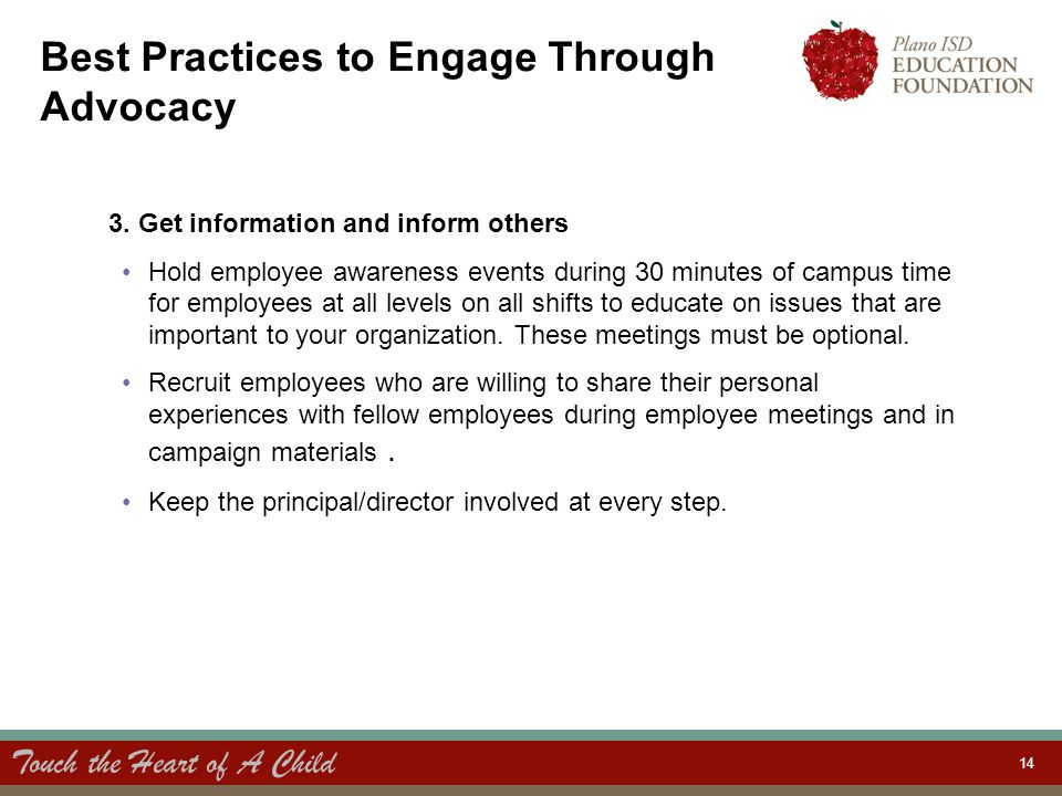 Touch the Heart of A Child 14 Best Practices to Engage Through Advocacy 3.