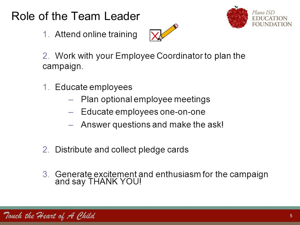 Touch the Heart of A Child 5 Role of the Team Leader 1.Attend online training 2.Work with your Employee Coordinator to plan the campaign. 1.Educate em