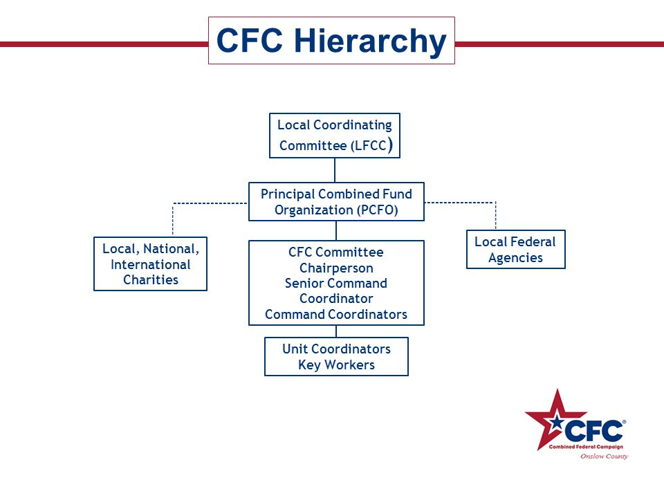 CFC Hierarchy Local Coordinating Committee (LFCC ) Principal Combined Fund Organization (PCFO) CFC Committee Chairperson Senior Command Coordinator Co