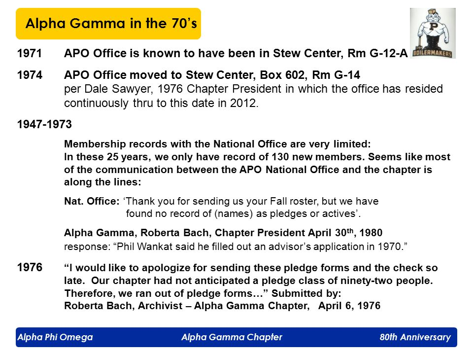 Alpha Phi Omega Alpha Gamma Chapter 80th Anniversary 1971APO Office is known to have been in Stew Center, Rm G-12-A 1974APO Office moved to Stew Center, Box 602, Rm G-14 per Dale Sawyer, 1976 Chapter President in which the office has resided continuously thru to this date in 2012.