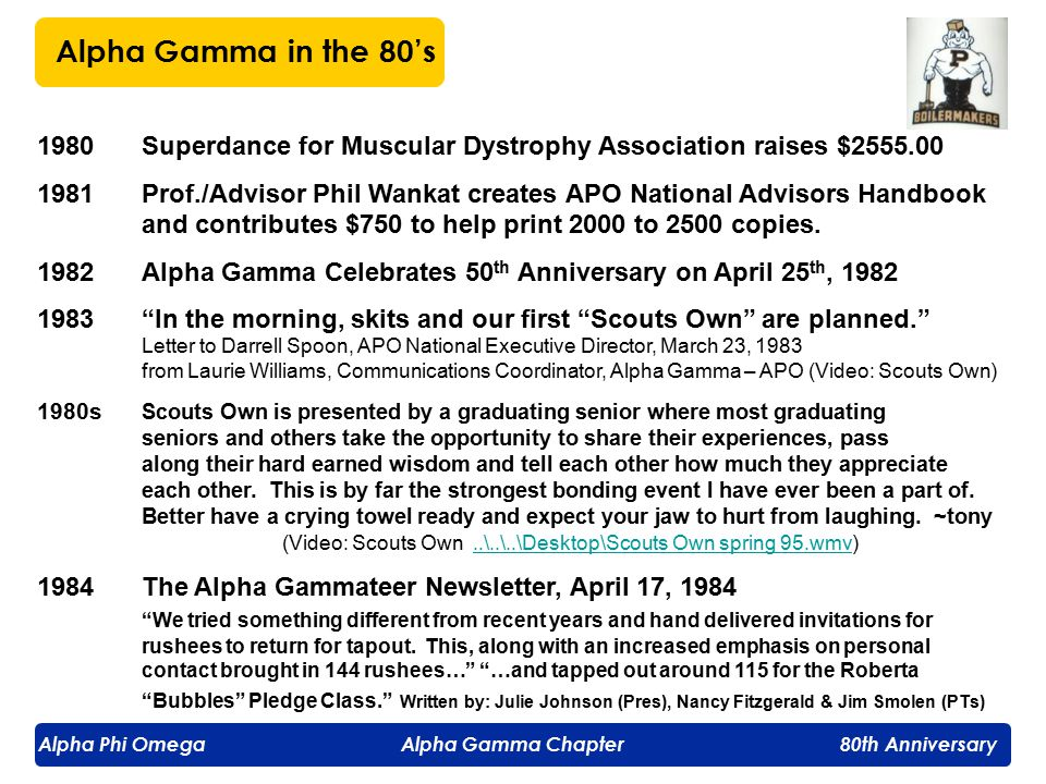 Alpha Phi Omega Alpha Gamma Chapter 80th Anniversary 1980Superdance for Muscular Dystrophy Association raises $2555.00 1981Prof./Advisor Phil Wankat creates APO National Advisors Handbook and contributes $750 to help print 2000 to 2500 copies.