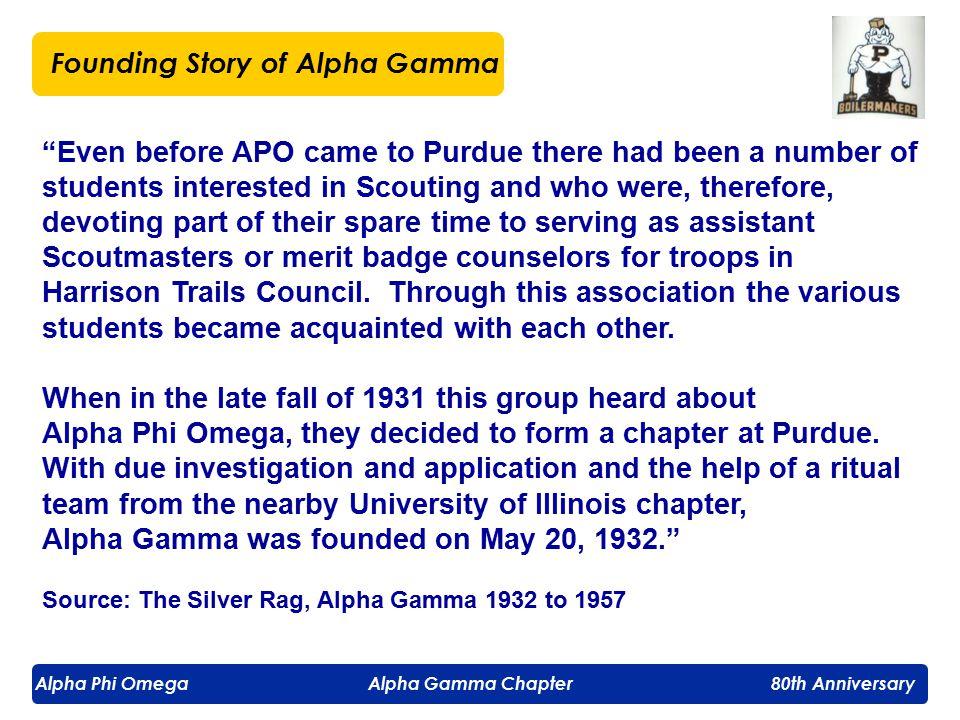 Alpha Phi Omega Alpha Gamma Chapter 80th Anniversary Alpha Gamma Charter Members Robert M.
