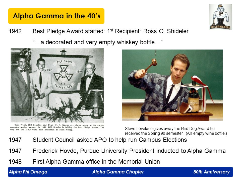 Alpha Phi Omega Alpha Gamma Chapter 80th Anniversary 1947:Alpha Gamma started a Blood Type List Program on campus ● 25 people from each class on file at Univ.