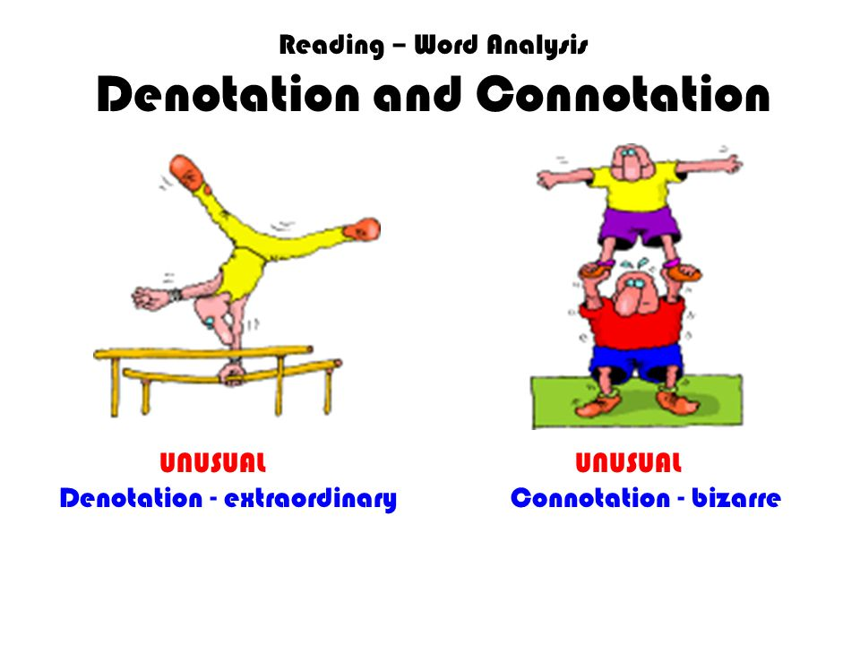 Reading – Word Analysis Denotation and Connotation UNUSUAL UNUSUAL Denotation - extraordinary Connotation - bizarre