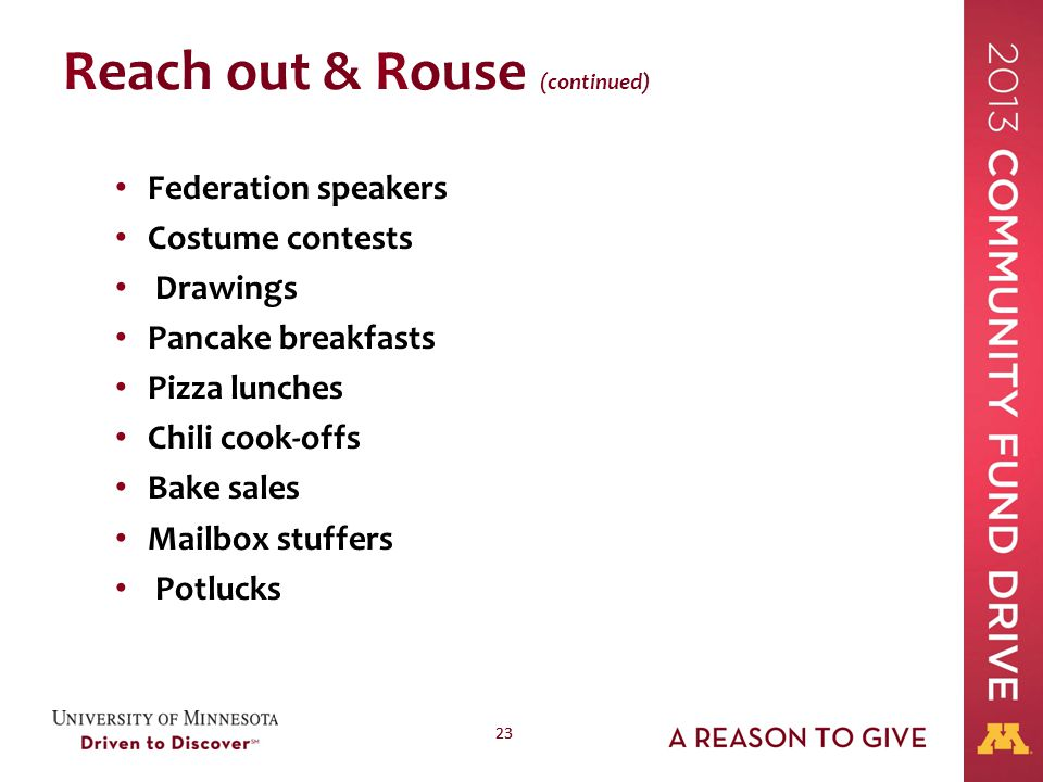 23 Reach out & Rouse (continued) Federation speakers Costume contests Drawings Pancake breakfasts Pizza lunches Chili cook-offs Bake sales Mailbox stu