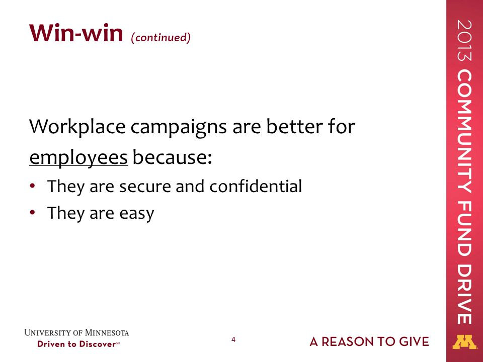 44 Win-win (continued) Workplace campaigns are better for employees because: They are secure and confidential They are easy