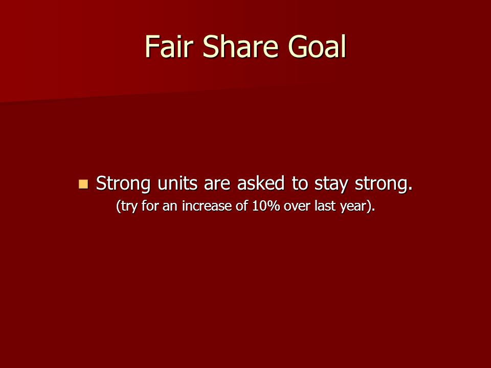 Fair Share Goal Strong units are asked to stay strong.