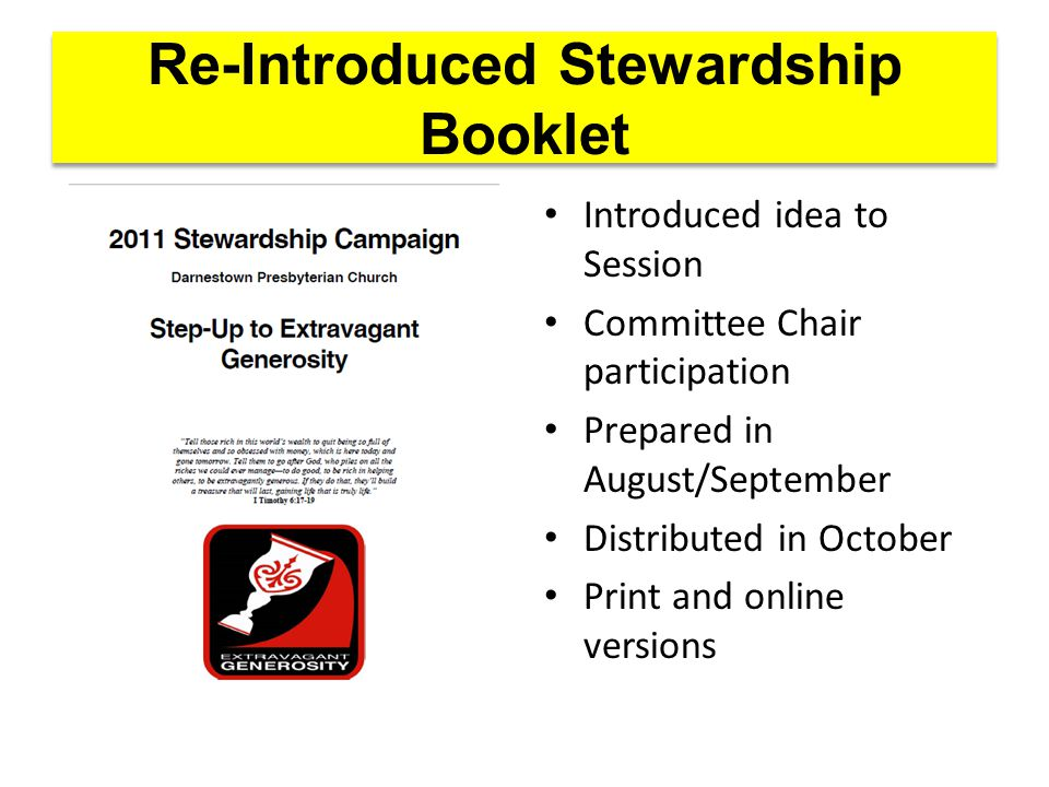 Re-Introduced Stewardship Booklet Introduced idea to Session Committee Chair participation Prepared in August/September Distributed in October Print and online versions