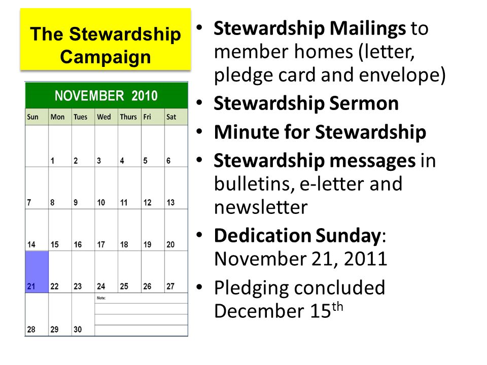 The Stewardship Campaign Stewardship Mailings to member homes (letter, pledge card and envelope) Stewardship Sermon Minute for Stewardship Stewardship