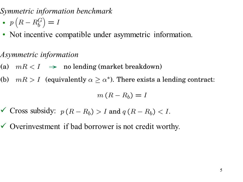 5 Symmetric information benchmark Cross subsidy: Not incentive compatible under asymmetric information.
