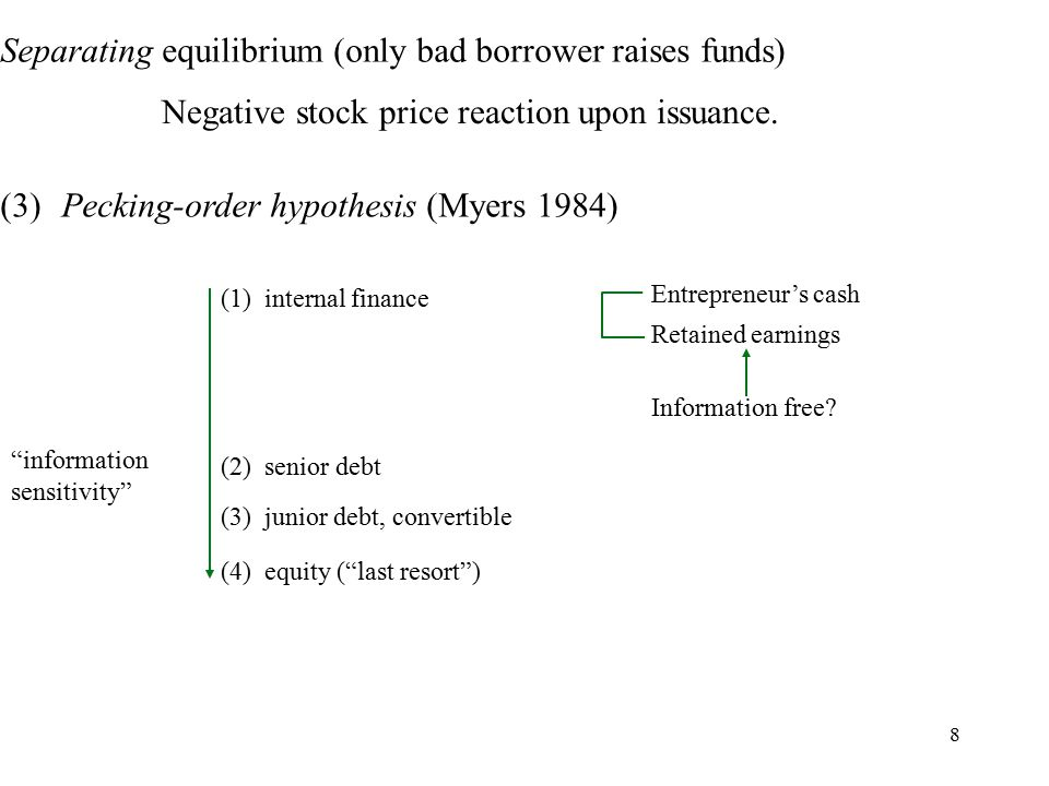 8 Separating equilibrium (only bad borrower raises funds) Negative stock price reaction upon issuance.
