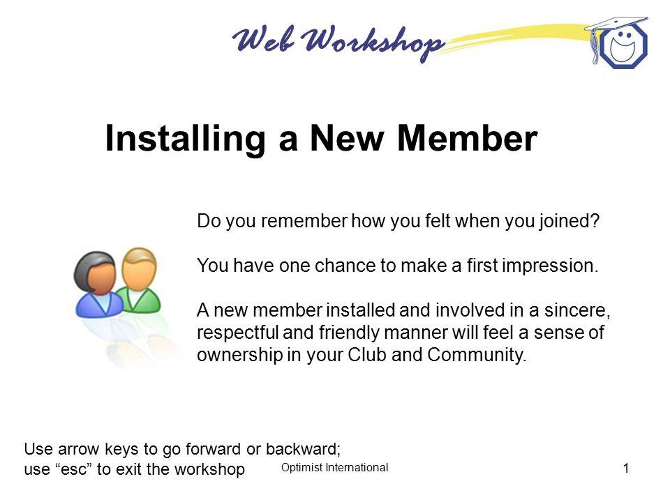 Web Workshop Optimist International 2 Be Prepared.