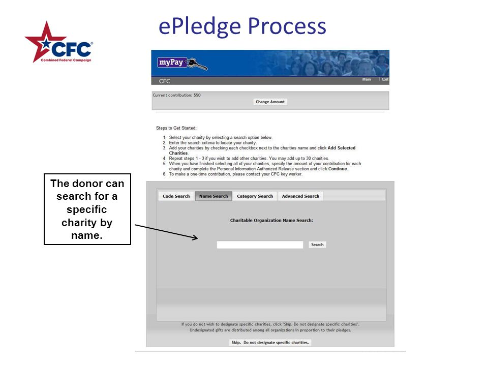 ePledge Process The donor can search for a specific charity by name.