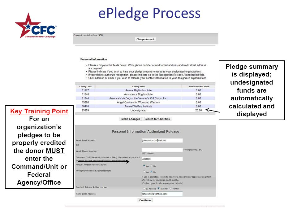 ePledge Process Pledge summary is displayed; undesignated funds are automatically calculated and displayed Key Training Point For an organization's pledges to be properly credited the donor MUST enter the Command/Unit or Federal Agency/Office