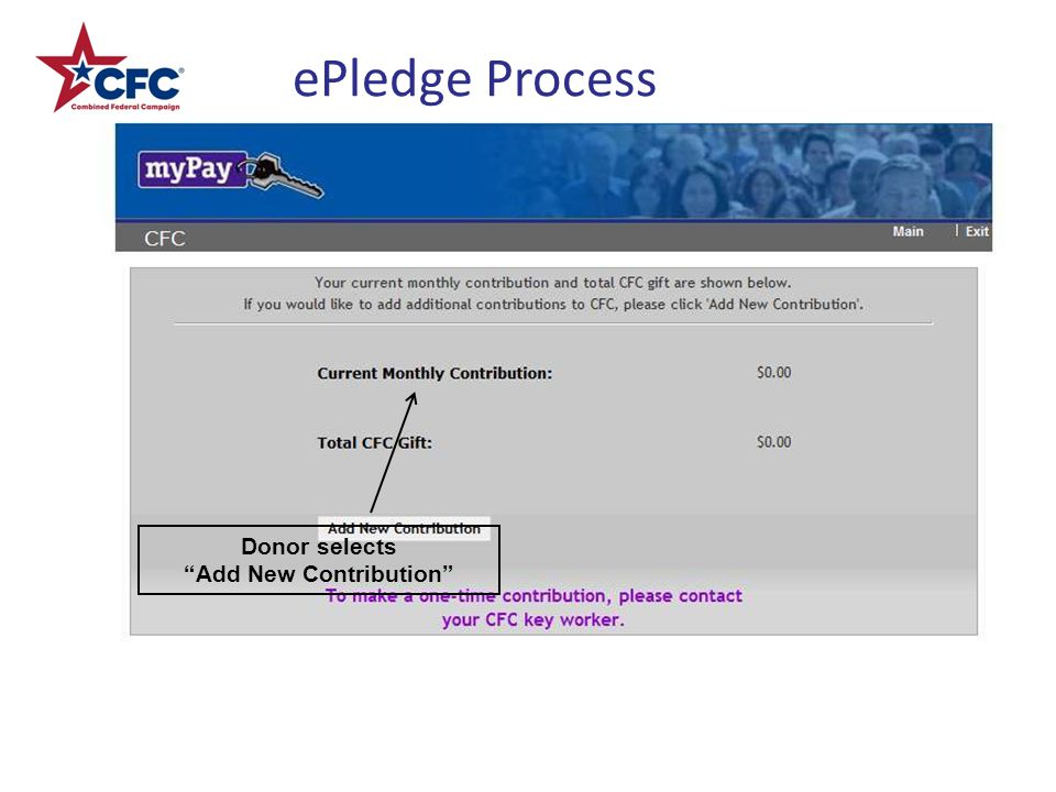 ePledge Process Donor selects Add New Contribution
