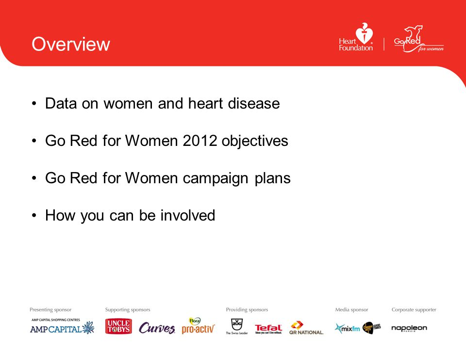 Overview Data on women and heart disease Go Red for Women 2012 objectives Go Red for Women campaign plans How you can be involved
