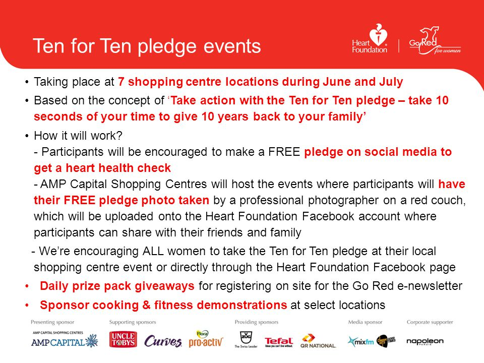 Ten for Ten pledge events Taking place at 7 shopping centre locations during June and July Based on the concept of 'Take action with the Ten for Ten p
