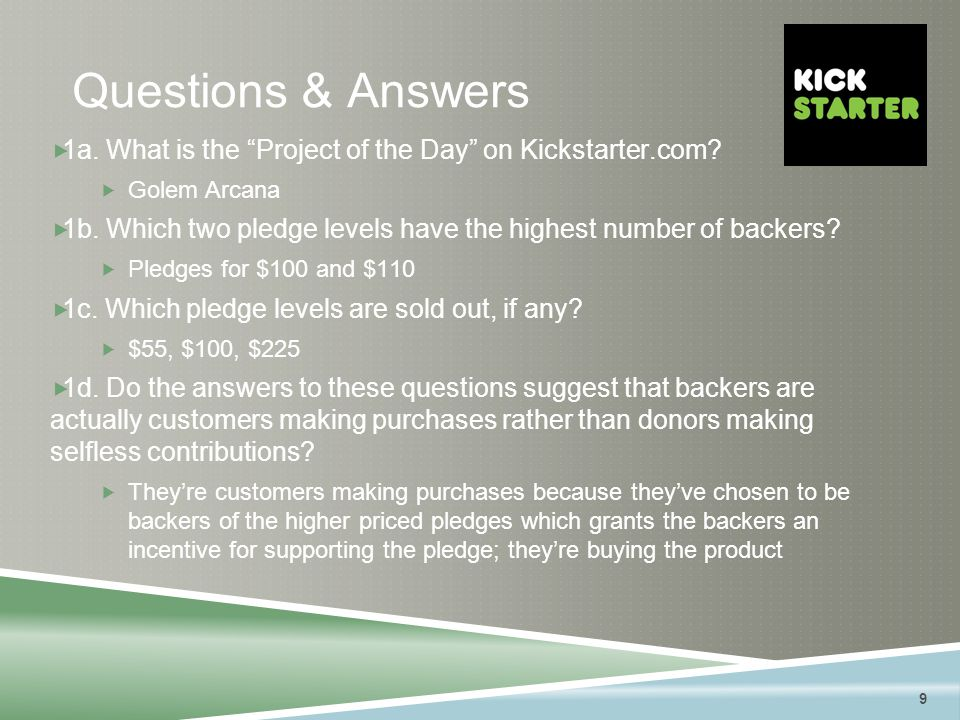9 Questions & Answers  1a. What is the Project of the Day on Kickstarter.com.