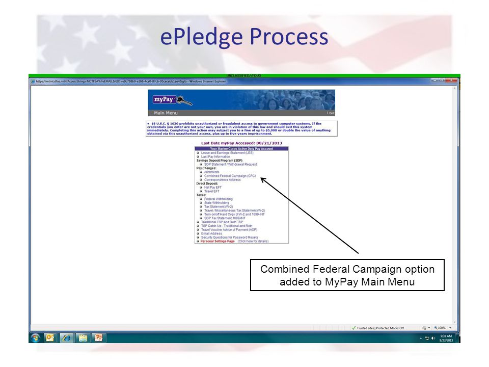 ePledge Process Combined Federal Campaign option added to MyPay Main Menu