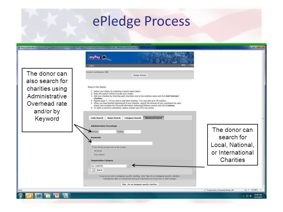 ePledge Process The donor can also search for charities using Administrative Overhead rate and/or by Keyword The donor can search for Local, National, or International Charities