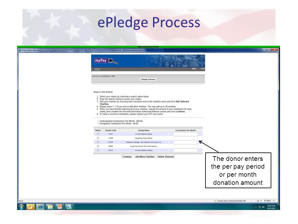 ePledge Process The donor enters the per pay period or per month donation amount