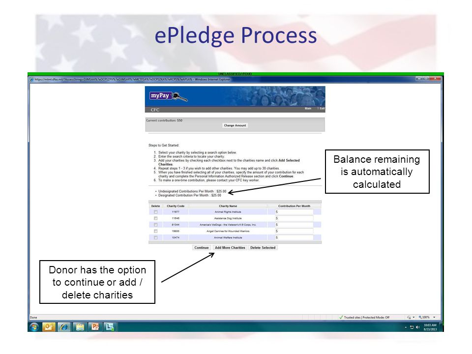 ePledge Process Balance remaining is automatically calculated Donor has the option to continue or add / delete charities