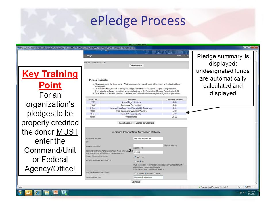 ePledge Process Pledge summary is displayed; undesignated funds are automatically calculated and displayed Key Training Point For an organization's pl