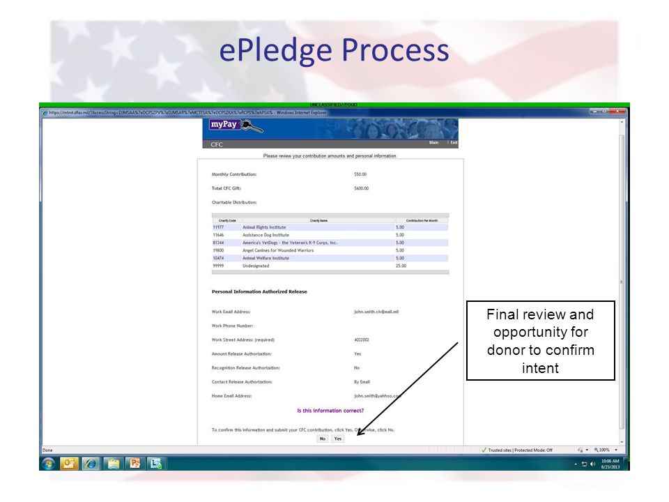 ePledge Process Final review and opportunity for donor to confirm intent