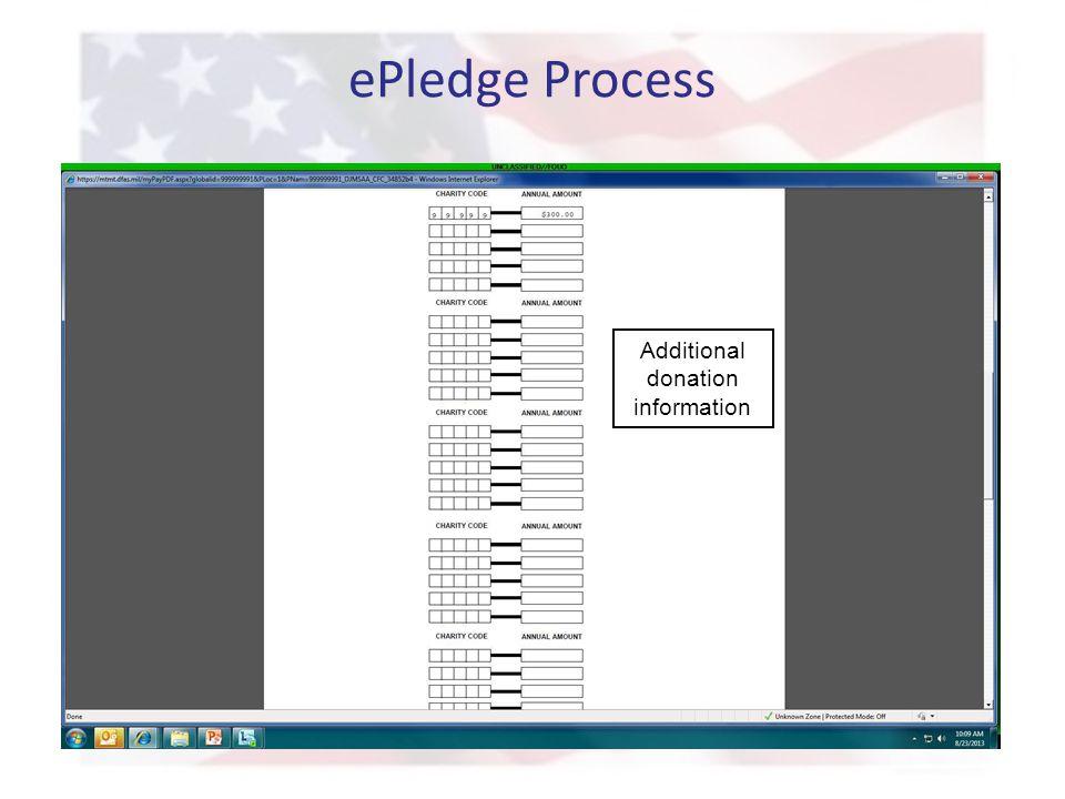 ePledge Process Additional donation information
