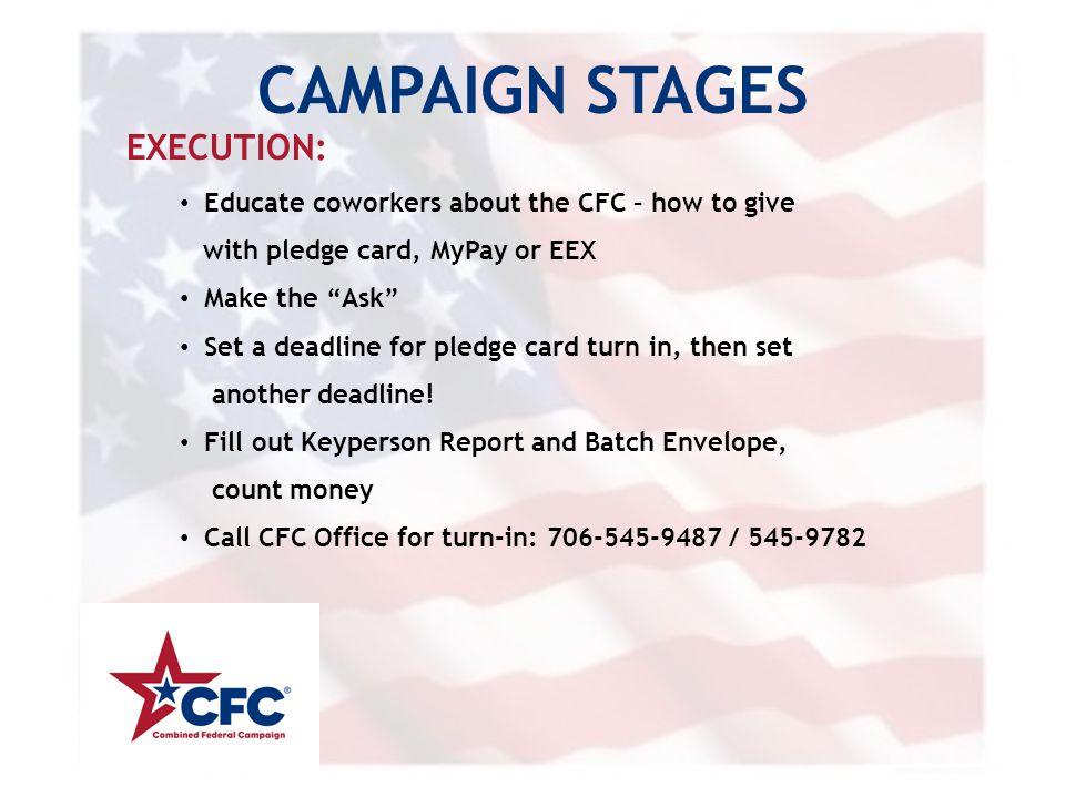 """CAMPAIGN STAGES EXECUTION: Educate coworkers about the CFC – how to give with pledge card, MyPay or EEX Make the """"Ask"""" Set a deadline for pledge card"""