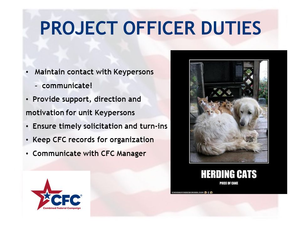 PROJECT OFFICER DUTIES Maintain contact with Keypersons – communicate! Provide support, direction and motivation for unit Keypersons Ensure timely sol