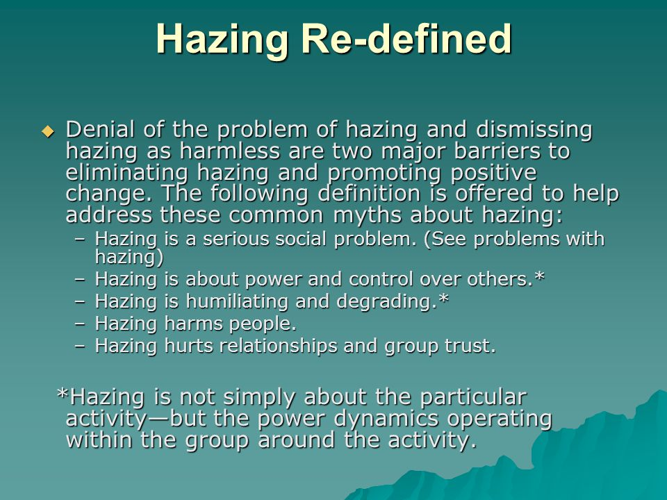 The spectrum of hazing E – alcohol consumption resulting in transport of individual; life placed in jeopardy.