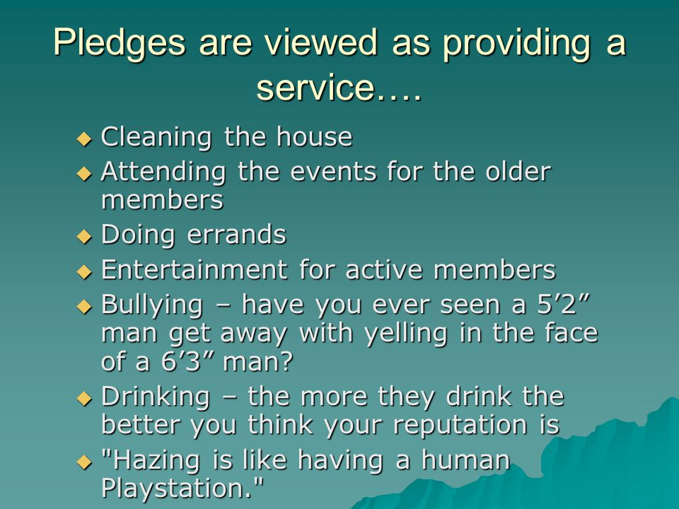 Pledges are viewed as providing a service….