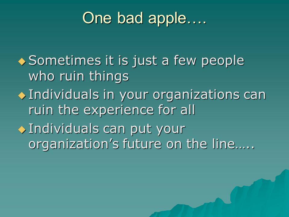 One bad apple….