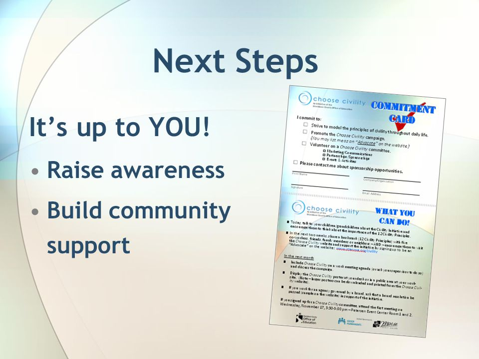 Next Steps It's up to YOU! Raise awareness Build community support