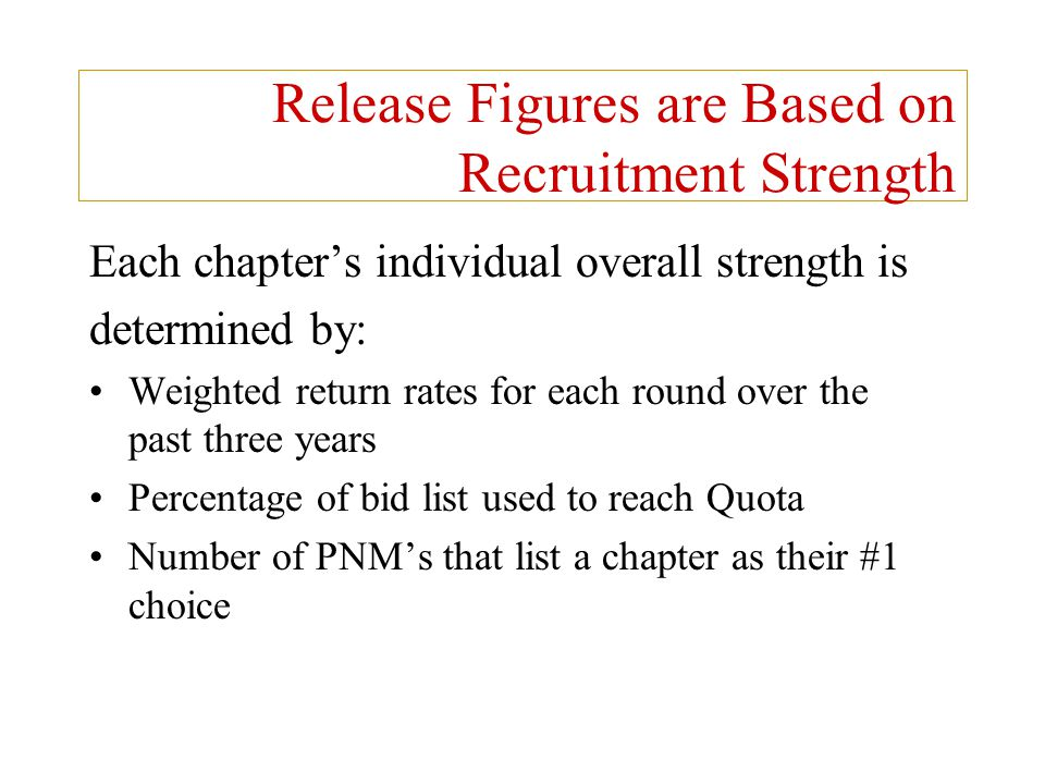 Release Figures are Based on Recruitment Strength Each chapter's individual overall strength is determined by: Weighted return rates for each round ov