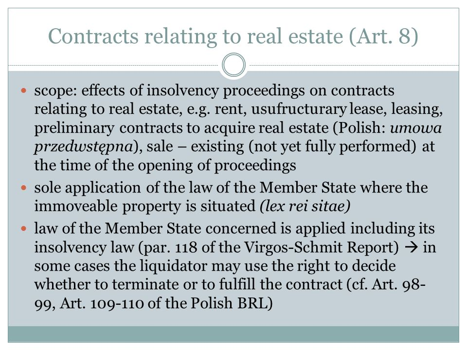 Contracts relating to real estate (Art.