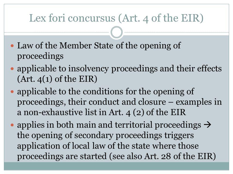 Lex fori concursus (Art.