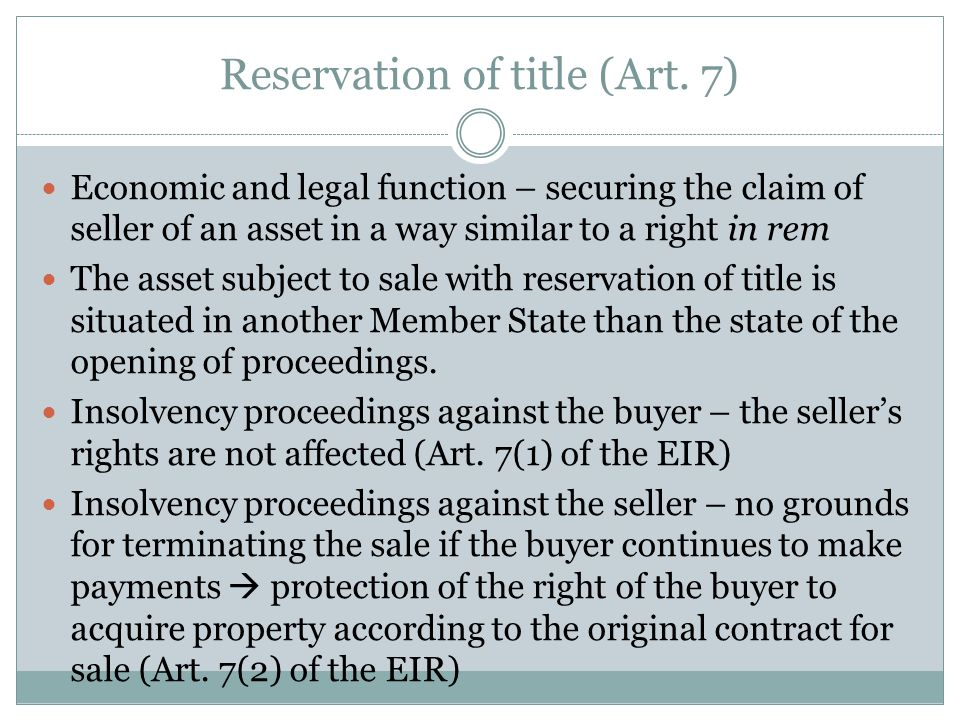 Reservation of title (Art.