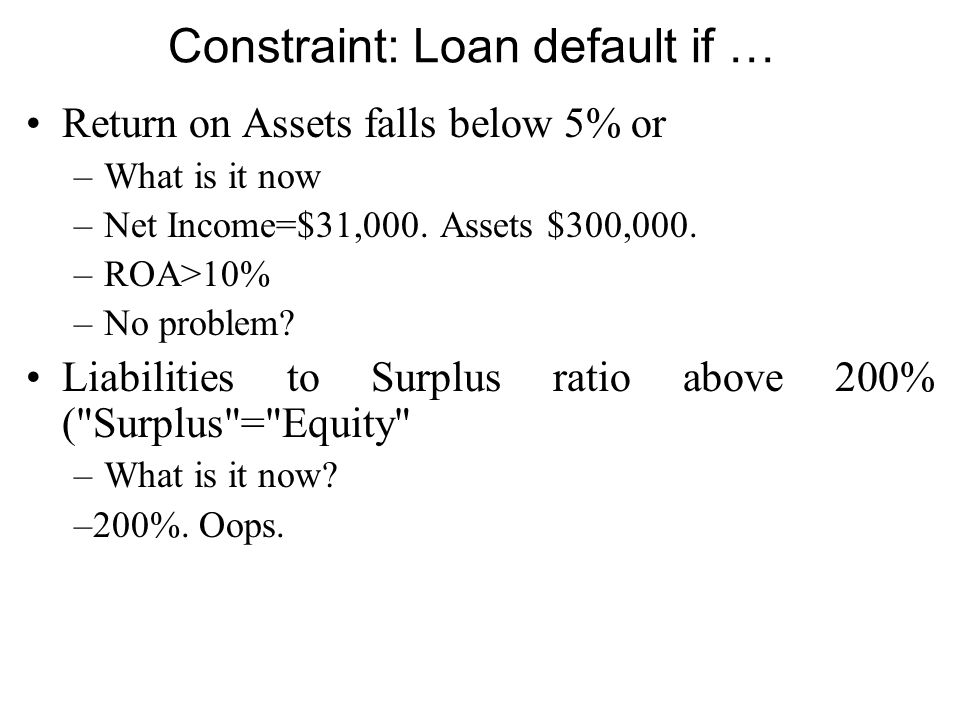 Constraint: Loan default if … Return on Assets falls below 5% or –What is it now –Net Income=$31,000.