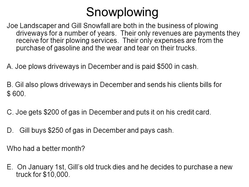 Snowplowing Joe Landscaper and Gill Snowfall are both in the business of plowing driveways for a number of years. Their only revenues are payments the