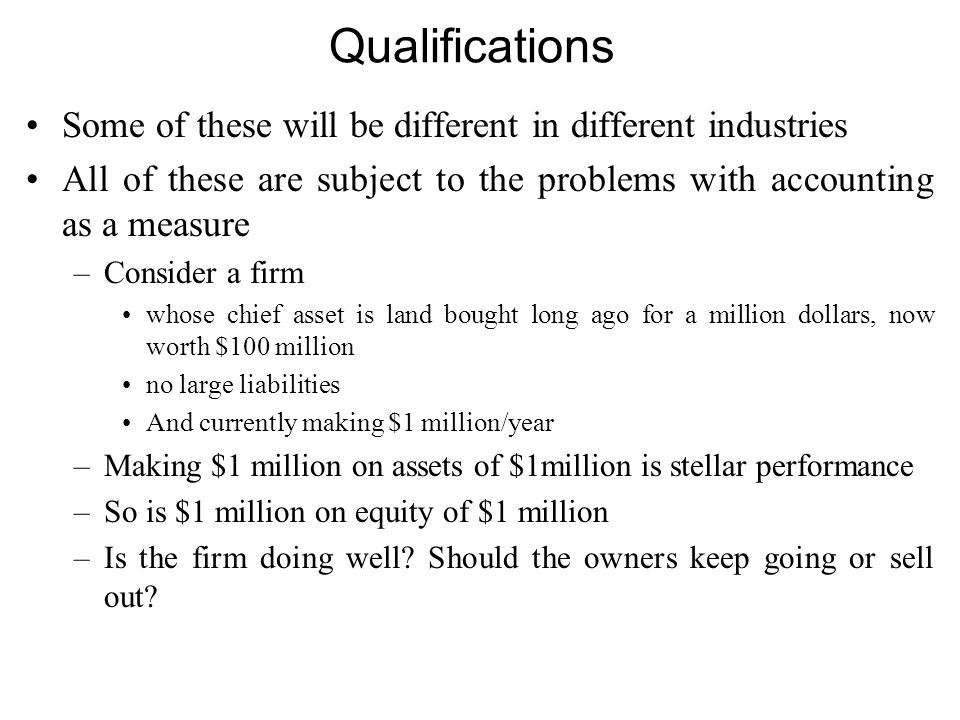 Qualifications Some of these will be different in different industries All of these are subject to the problems with accounting as a measure –Consider a firm whose chief asset is land bought long ago for a million dollars, now worth $100 million no large liabilities And currently making $1 million/year –Making $1 million on assets of $1million is stellar performance –So is $1 million on equity of $1 million –Is the firm doing well.