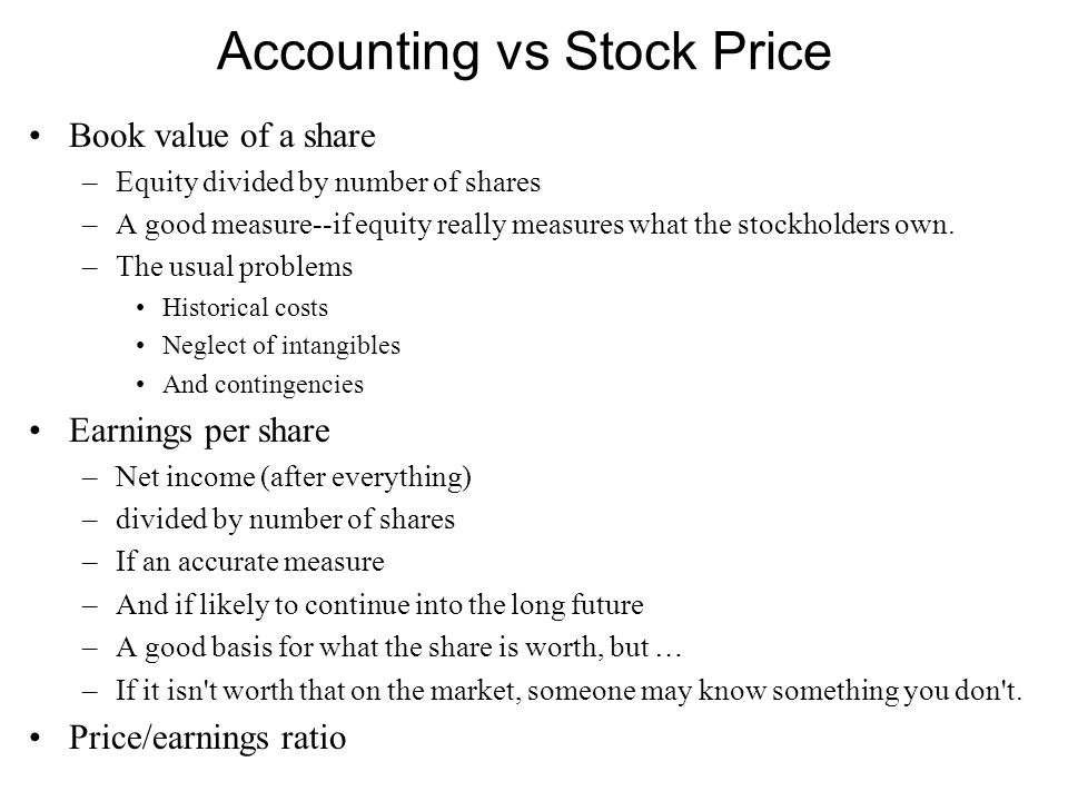 Accounting vs Stock Price Book value of a share –Equity divided by number of shares –A good measure--if equity really measures what the stockholders own.