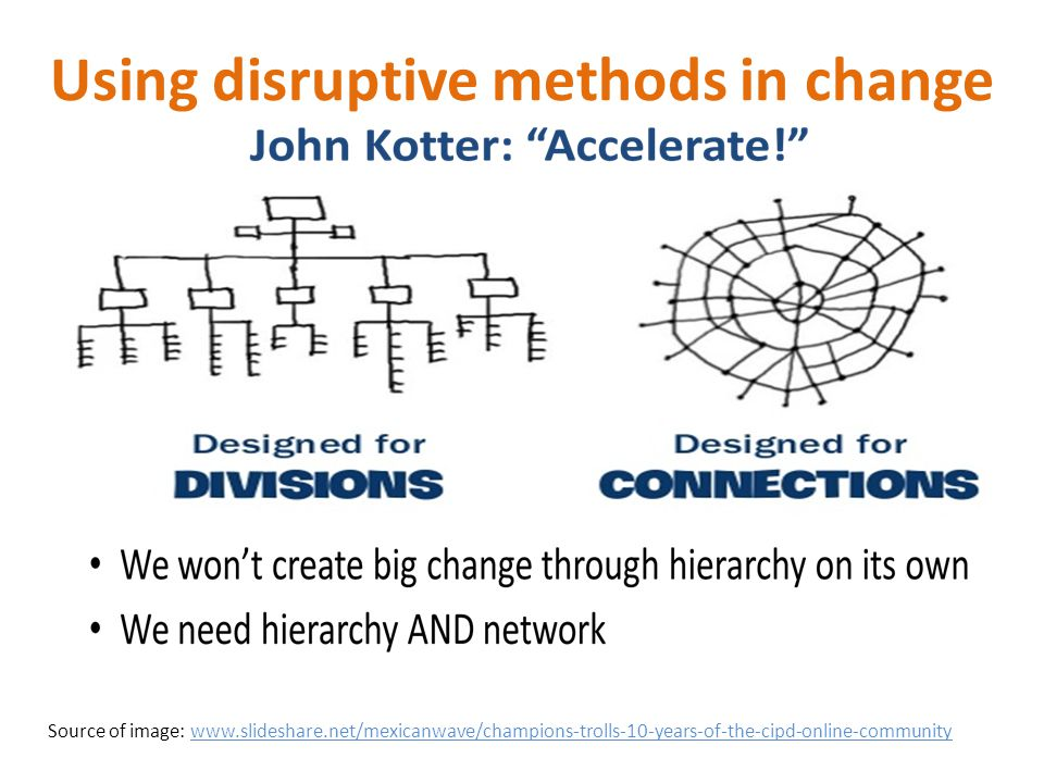 Using disruptive methods in change Source of image: www.slideshare.net/mexicanwave/champions-trolls-10-years-of-the-cipd-online-community