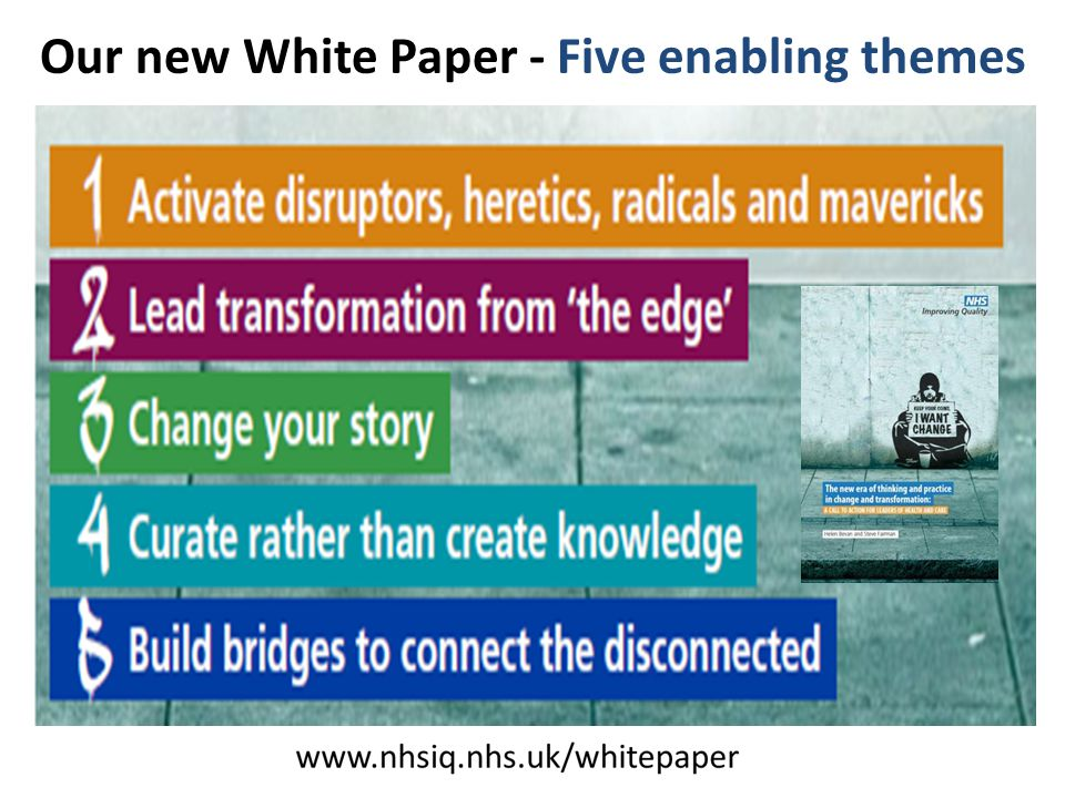 @HelenBevan Our new White Paper - Five enabling themes www.nhsiq.nhs.uk/ whitepaper