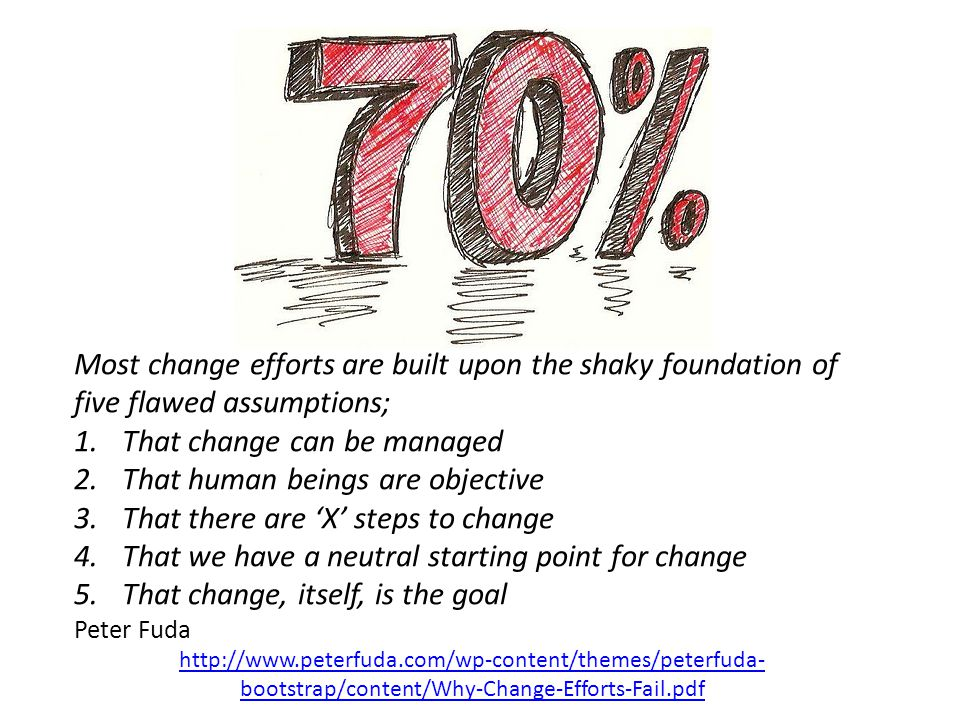 @HelenBevan Most change efforts are built upon the shaky foundation of five flawed assumptions; 1.That change can be managed 2.That human beings are objective 3.That there are 'X' steps to change 4.That we have a neutral starting point for change 5.That change, itself, is the goal Peter Fuda http://www.peterfuda.com/wp-content/themes/peterfuda- bootstrap/content/Why-Change-Efforts-Fail.pdf